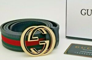 Mens Designer Belt HIGH QUALITY Fashion Luxury Black Leather Gold Buckle GC10