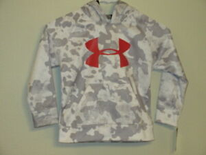 NEW BOYS SIZE 4 UNDER ARMOUR GRAY WHITE CAMO W RED LOGO HOODIE SHIRT $42.99 $22.75