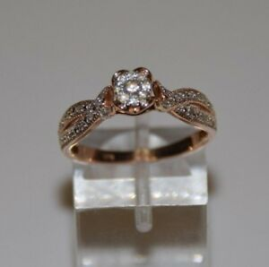 0.10 ctw Diamonds on 10K Rose Gold Engagement Style Ring Size 7.5