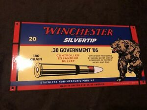 Winchester Silvertip Steel Porcelain Ammo Sign Hunting Bear Guns Rifle Bullet