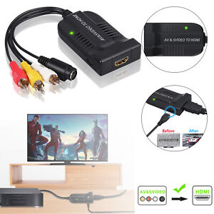 1080P Male AV CVBS S-Video to HDMI Converter 3RCA to HDMI Adapter For HDTV DVD