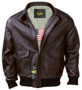 Men A 2 Air Force Flight Bomber Genuine Leather Jacket FAST SHIPPING
