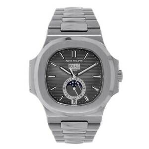 Patek Philippe Nautilus Moon Phase Stainless Steel Grey Dial Watch 57261A-001