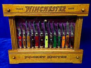 Vintage Winchester Pocket Knife Display Case Antique Knives Counter Top Display