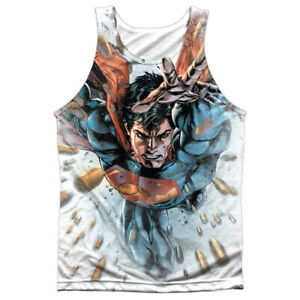 Superman BULLETS IN THE SKY Front Only Sublimated Big Print Poly Tank Top
