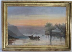 ANTIQUE  FINE  LAKE GEORGE NY SCENE LANDSCAPE OIL PAINTING LARGE BY ROSENTHAL $375.00