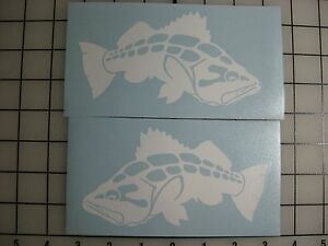 Two 6quot; Calico Bass Fish Decals ANY COLOR Sticker Fishing Truck Car Window Tackle