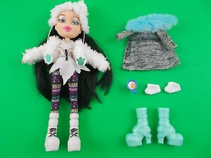 BRATZ 10quot; doll black hair winter outfit extra boots coat coffee cup