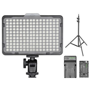 Dimmable 176 LED Video Light with Light Stand Li-ion Battery and Charger