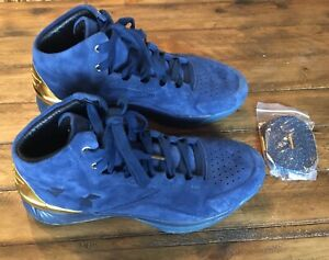 Under Armour Curry 1 Lux Suede Navy Blue Gold Size 11 Men's Great Condition