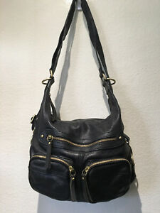 SORIAL New York BLACK LEATHER  3 Pocket Hobo Cross-body Handbag - 14