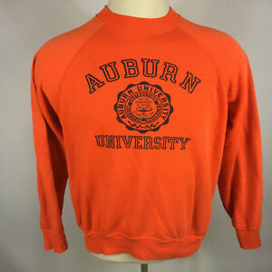 Rare Vintage 70s 80s Auburn University Paper Thin Distressed Sweatshirt Orange