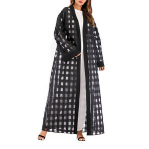 1pc Clothes Loose Fashion Gingham Long Sleeve Maxi Robe Clothes for Women Ladies