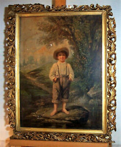 1871 Antique Prang Chromolithograph BAREFOOT BOY Whittier 19th Century American $145.00