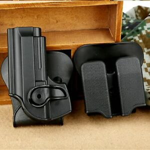 Tactical Pistol Holster Double Paddle Magazine Pouch Combo Set for Beretta 92 96