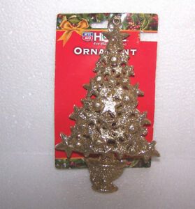 CHRISTMAS TREE ORNAMENTS GOLD GLITTER BALLS STAR HANGING DECORATION HOLIDAY NOS