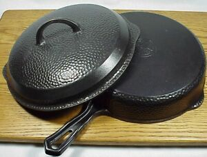 #8 GRISWOLD Hammered  Hinged Skillet #2008 + Matching Lid #2098 - Fantastic WOW