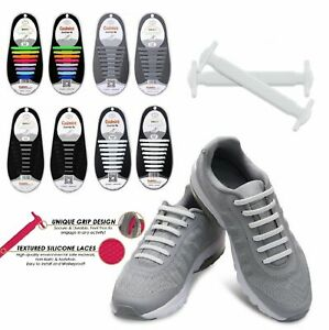 16Pcs Easy No Tie Shoelaces Elastic Silicone Flat Lazy Shoe Lace Strings Adult $3.59