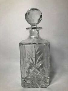 Crystal Whiskey Decanter - square with round stopper