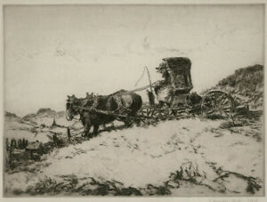 A fine regionalist etching by George Hand Wright Back to the Earth pencil sign $100.00