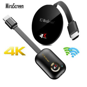 4K MiraScreen Miracast WiFi Wireless Display HDMI TV Stick Dongle Receiver+Cable