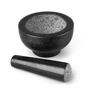 Granite Mortar and Pestle Set Solid Stone Grinder Bowl 4.7quot; For Guacamole Herbs