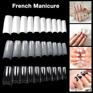 500x Natural/Clear/White False Half Nail Tips Acrylic UV Gel French Art Man