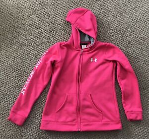 Girls Under Armour Hot Pink Full Zip Hoodie Size YLG