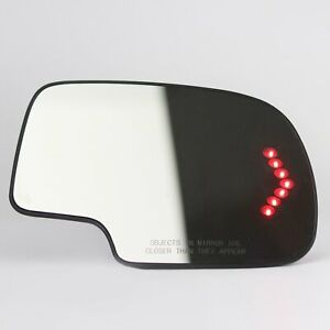 Mirror Glass Heated Turn Signal Passenger Side for 2003-2007 Chevy GMC Cadillac