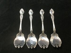 Set of 4 Wallace Violet pattern Sterling Silver Ice Cream Forks