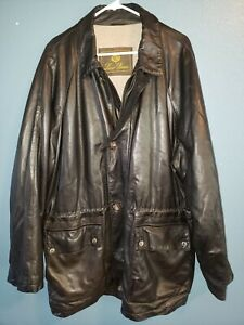 LORO PIANA Leather Jacket Mens XL Horsey Cashmere Liner Black Made in Italy