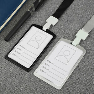 Aluminum Pocket Credit ID Card Badge Tag Holder Pass Case Neck Strap Lanyard