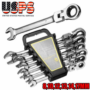 6Pcs Ratchet Wrench Reversible Ratcheting Combination Wrench Set Flexible Metric