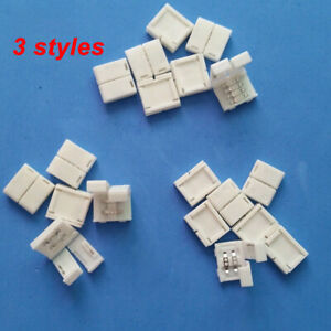 8mm 10mm 2/4pin Solderless Clip-on Coupler Connector RGB for 3528 5050 LED Strip