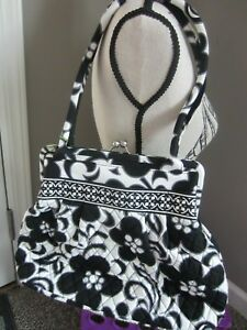 NWT Vera Bradley Alice Night & Day Floral Kisslock Clasp Purse Quilted Black Whi