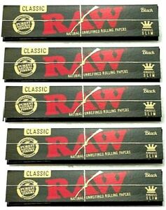5 Pks Raw Black King Size Slim Rolling Papers Original Style AUTHENTIC USA Shpd $7.72