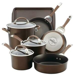 Symmetry 9 Piece Chocolate Hard Anodized Nonstick Cookware Set Plus Bakeware New