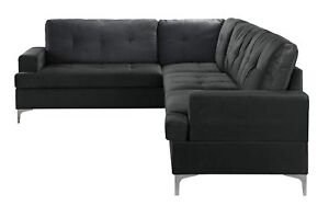 Large Family Room Couch Mid Century Tufted Velvet Sectional Sofa Black