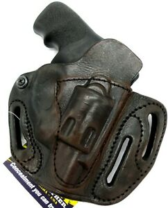 TAGUA RH Brown Leather MULTI-FIT OWB Belt Holster for RUGER LCR 22 38 357 9MM