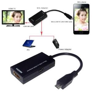 5 Pin Micro USB Adapter Cable  MHL To HDMI HDTV TV HD for Smart Cell Phone y#d