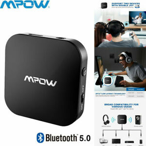 Mpow Bluetooth 5.0 Transmitter Stereo TV Audio Adapter aptX Low Latency 30 Hours