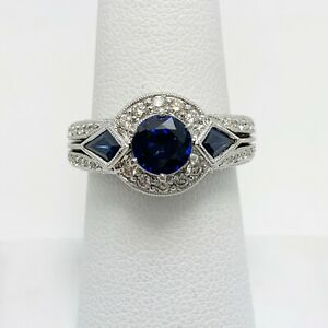Elegant 1.50ct Natural Sapphire Diamond 18k Gold Ring (4124)