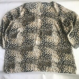 ROSE AND OLIVE 3X Women's Blouse Top Animal Print 3/4 Sleeve Gold Back Zipper