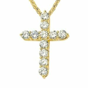 Solid Yellow Gold In 10K14K  Cross Elegant  Pendant Necklace (XS--XL)
