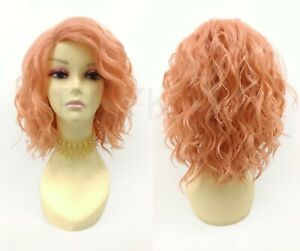 Short Wavy Lob Lace Front Heat Resistant Wig Peach Pink Side Part
