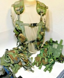 THREE (3) Woodland Camo US LBV TACTICAL LOAD BEARING VEST Real US Army Surplus
