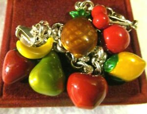 RARE Vintage Sterling Silver 925 COLORFUL ENAMEL Dangle Fruit  Charm Bracelet