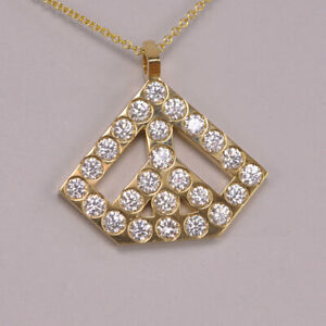 Diamond Peace Pendant geometric design 18k yellow gold