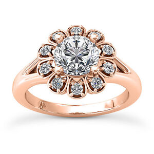 Halo Solitaire 0.88 Carat VS2H Round Diamond Engagement Ring 14K Rose Gold