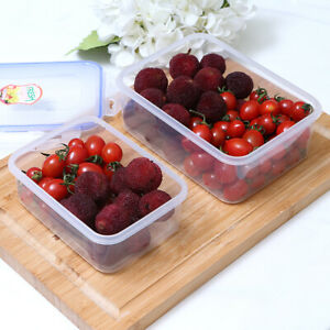 3pcs Kitchen Plastic Food Storage Containers Set Lunch Box Case Rectangle Round